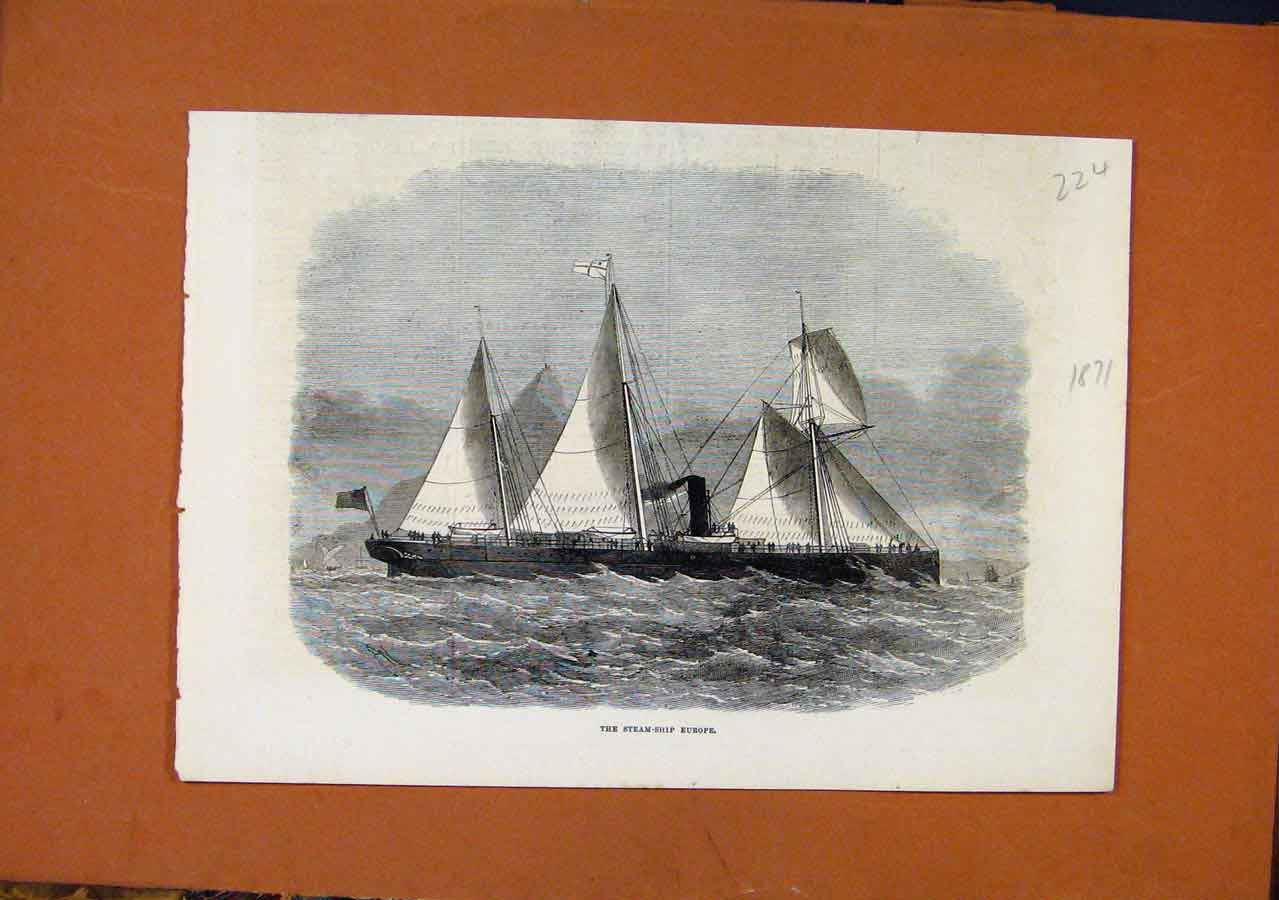 Print C1871 Steam Ship Europe Illustrated London News 248270 Old Original