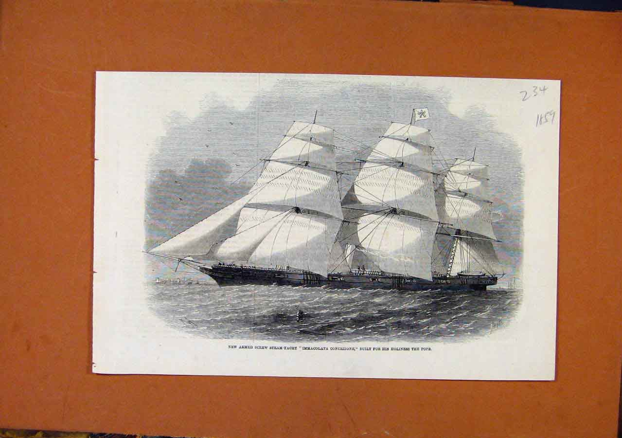 Print Screw Steam Yeacht Immacolata Concezione C1859 348270 Old Original