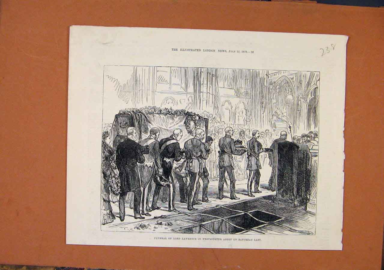 Print Funeral Lord Lawrence Westminster Abbey C1879 388270 Old Original