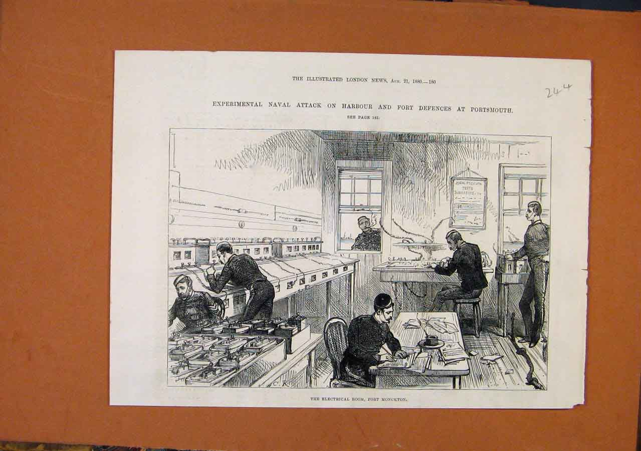 Print Electrical Room Fort Monckton Naval Attack C1880 448270 Old Original