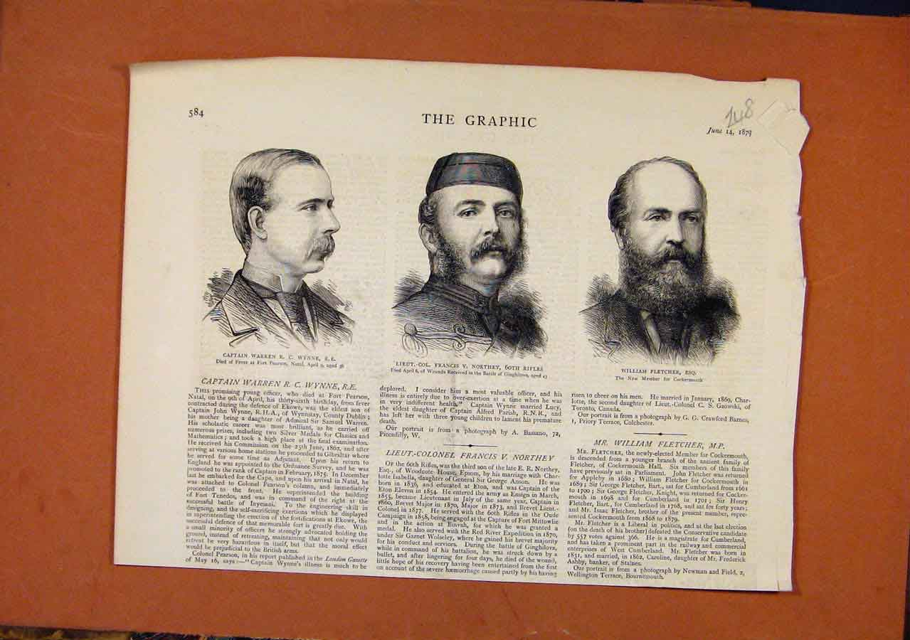 Print The Graphic C1879 Captain Warren Francis Northy Fletche 488270 Old Original