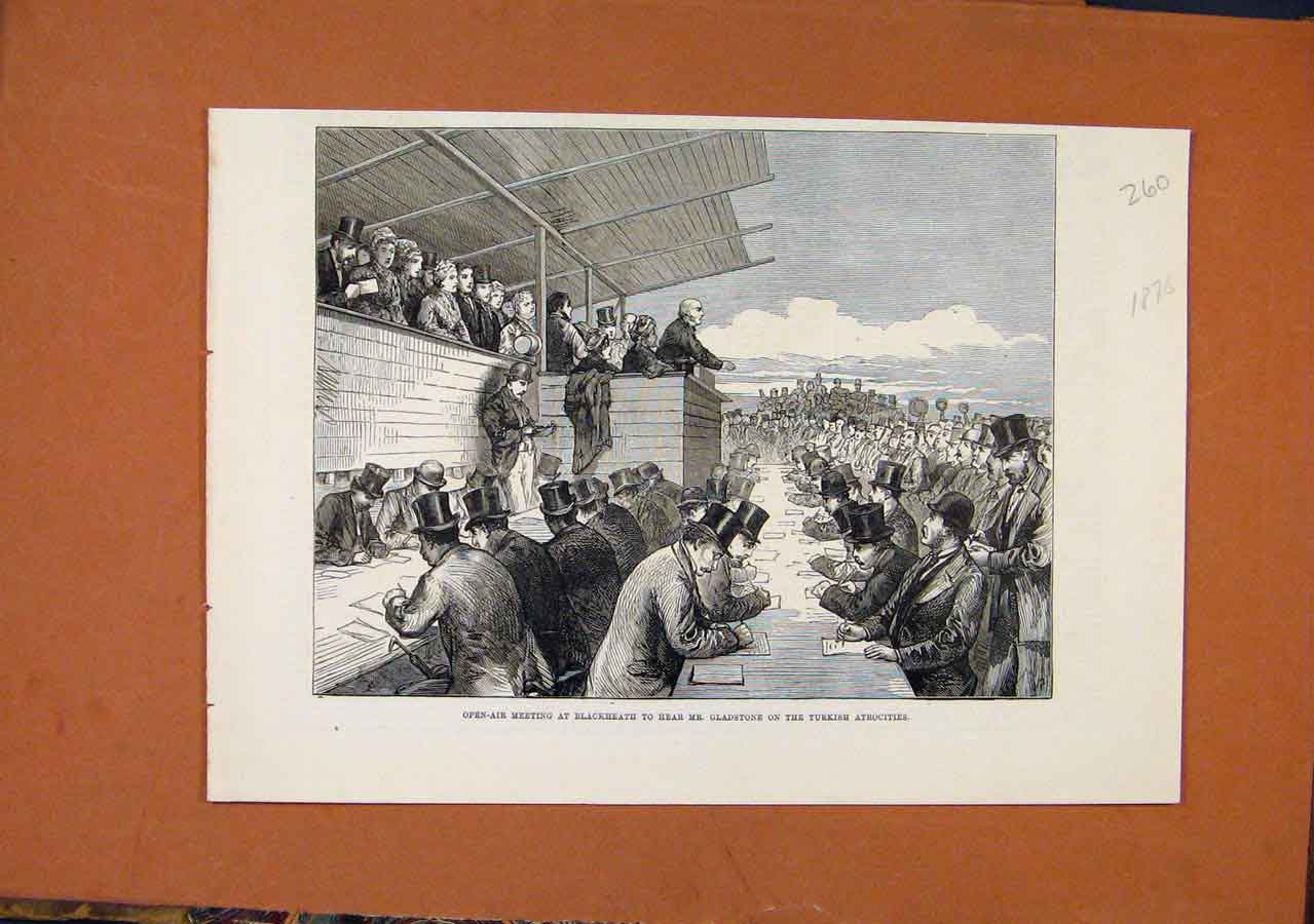 Print Blackheath Open Air Meeting Turkish Atrocities C1876 608270 Old Original