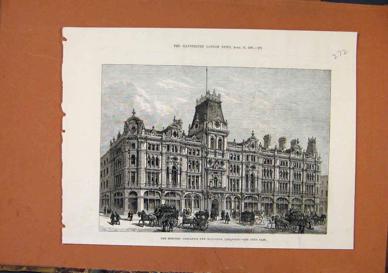Print Mercers Compnay Building Cheapside C1881 London News 728270 Old Original