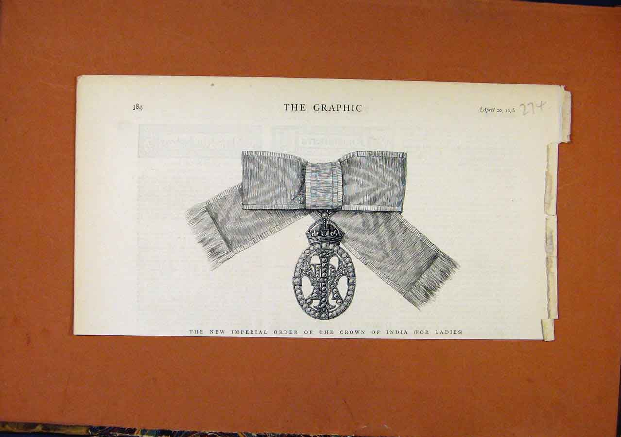 Print C1818 Imperial Order Crown India 748270 Old Original