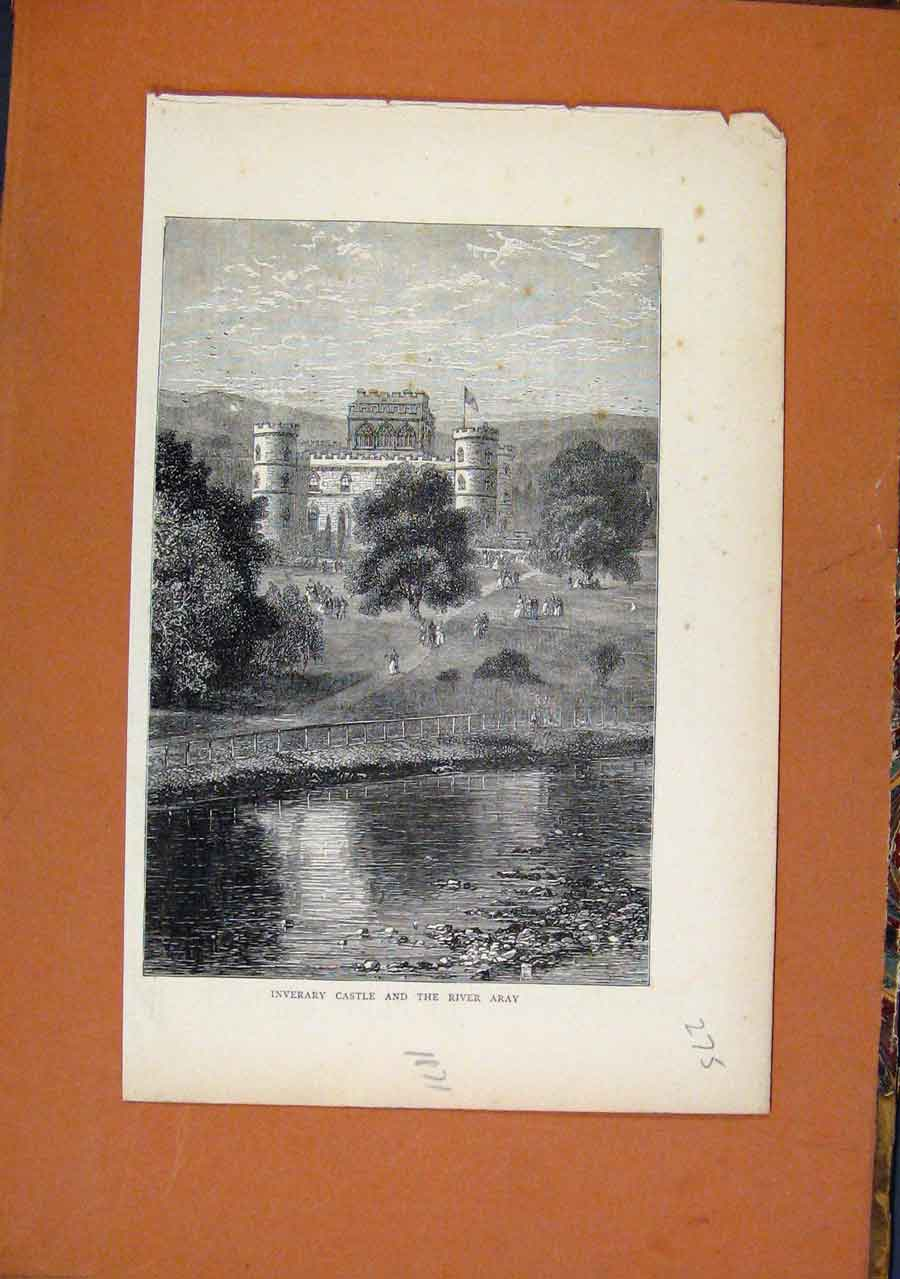 Print C1871 Inverary Castle River Aray 758270 Old Original