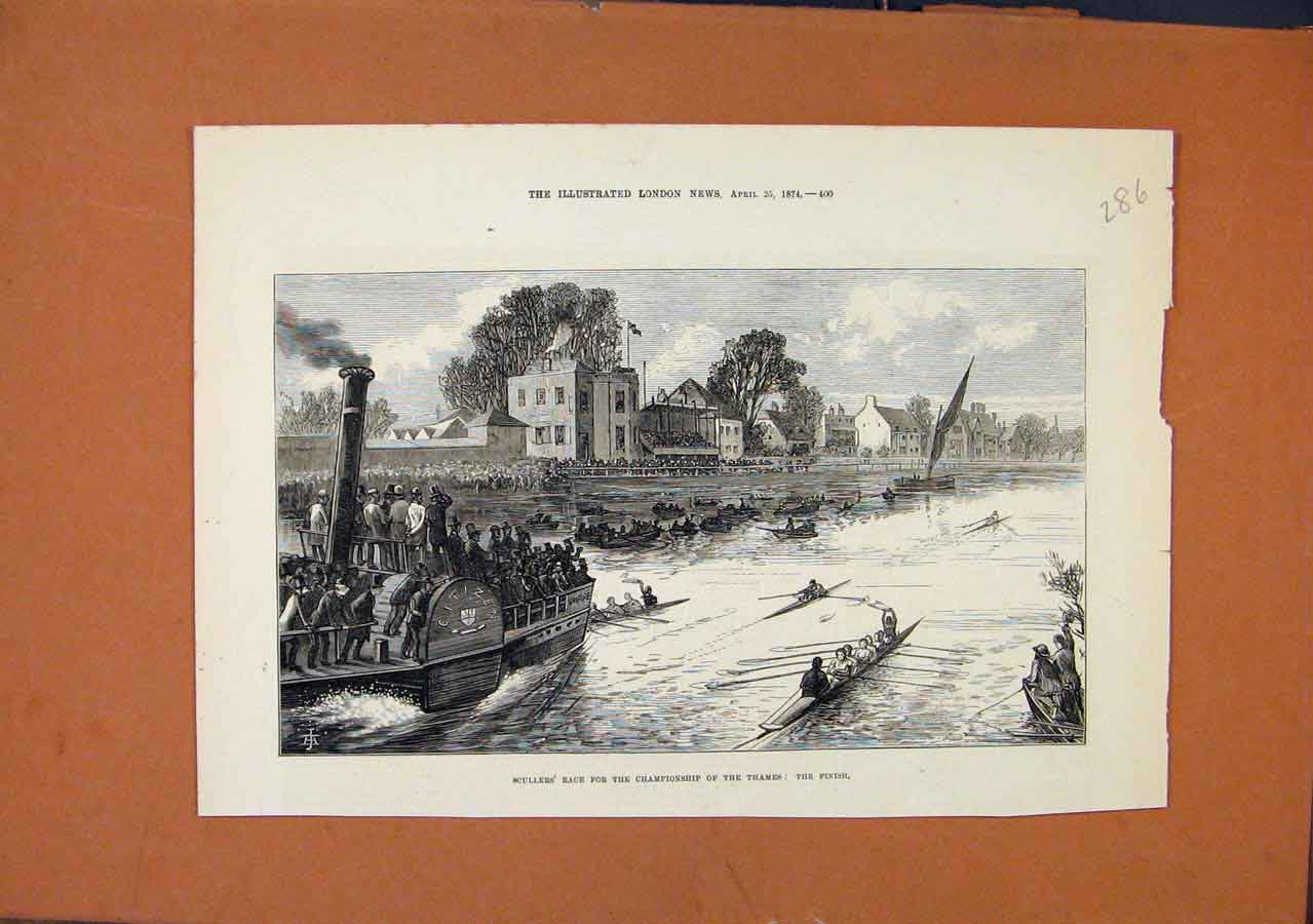 Print Sullers Race Championship Thames C1874 London News 868270 Old Original