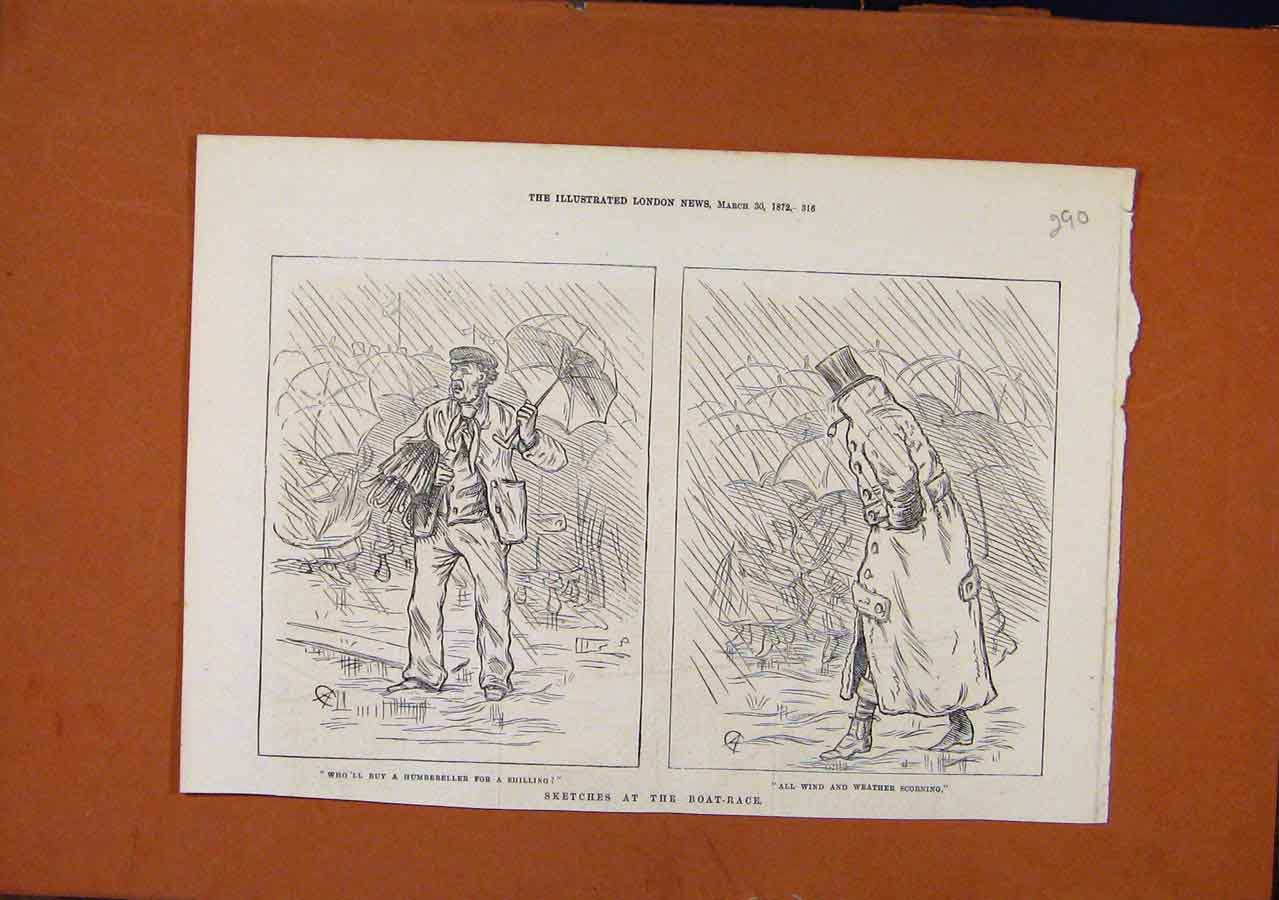 Print Sketches At Boat Race C1872 Illustrated London News 908270 Old Original