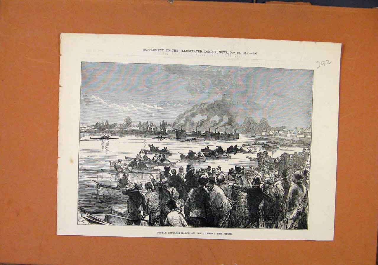 Print Double Sculling Match Thames C1874 London News 928270 Old Original