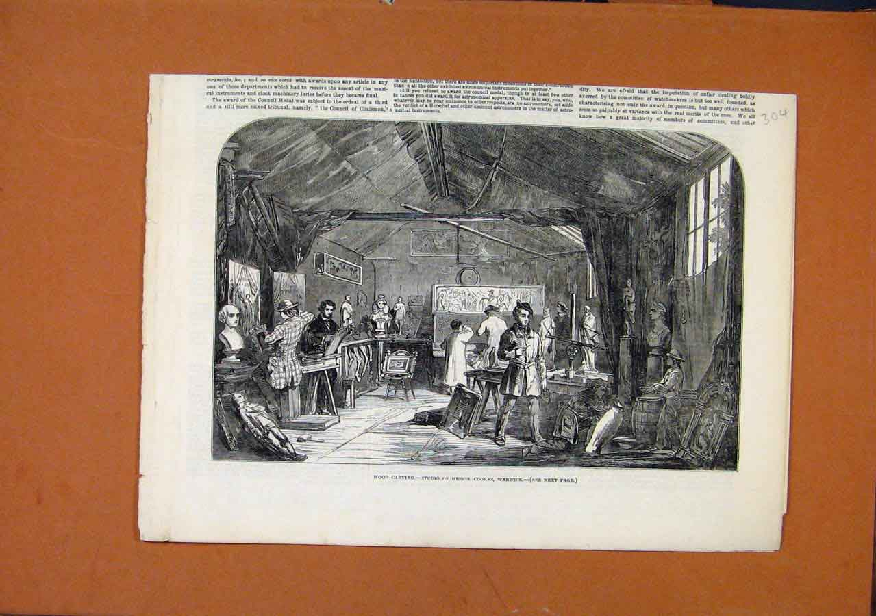Print Wood Carving Studio Messrs Warwick 048270 Old Original