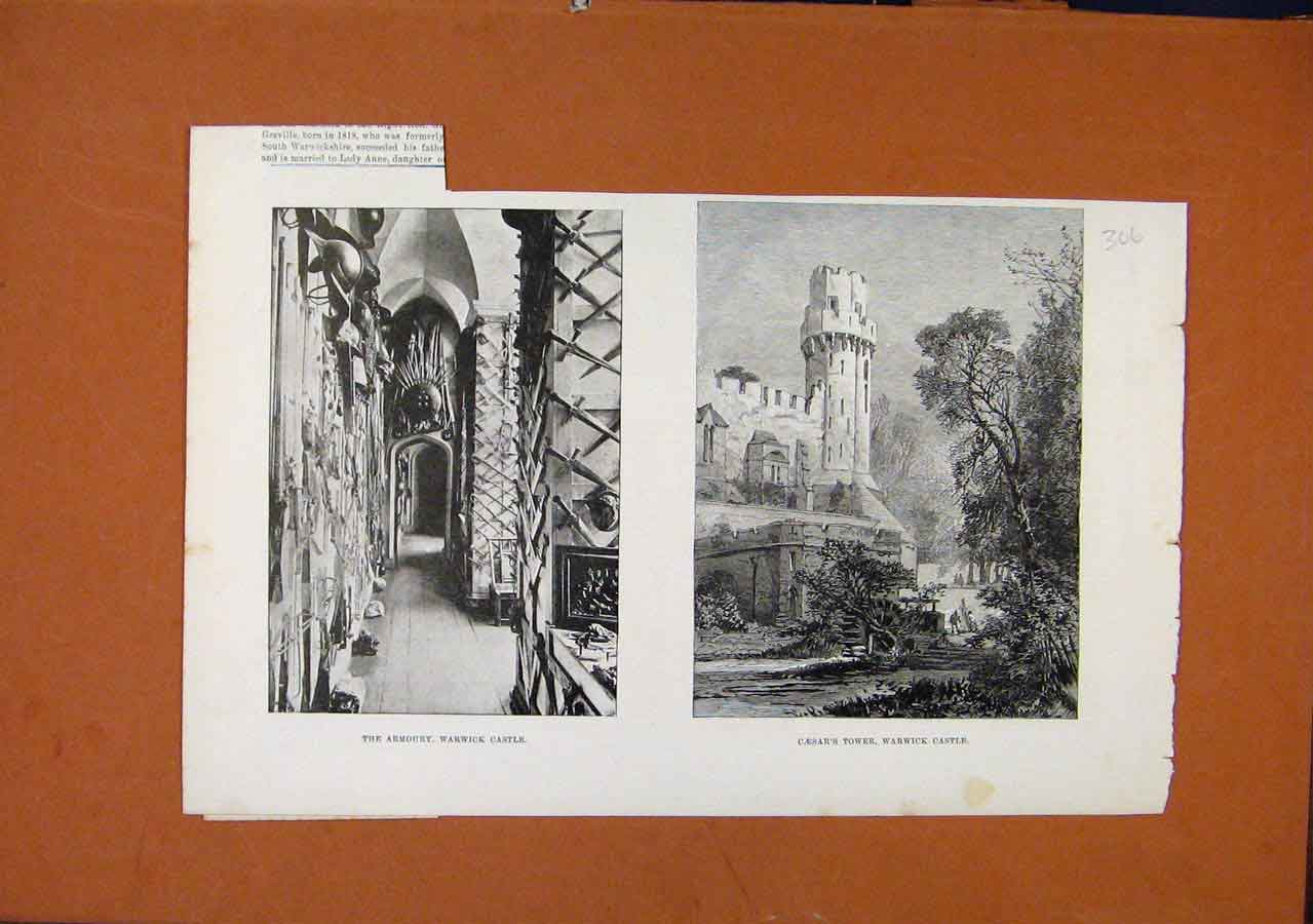Print Armoury Warwick Castle Caesars Tower 068270 Old Original