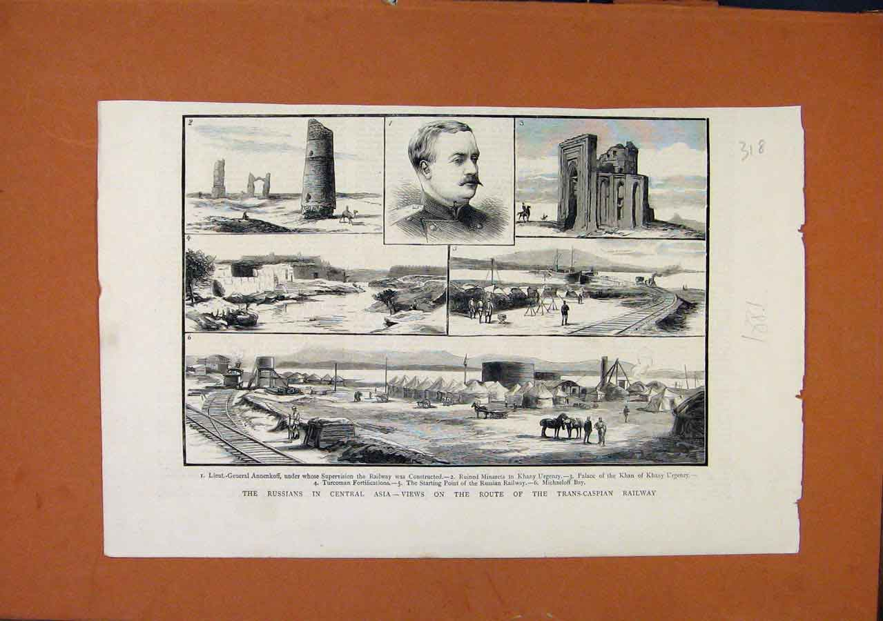 Print Russians Central Asia Transcaspian Railway C1881 188270 Old Original