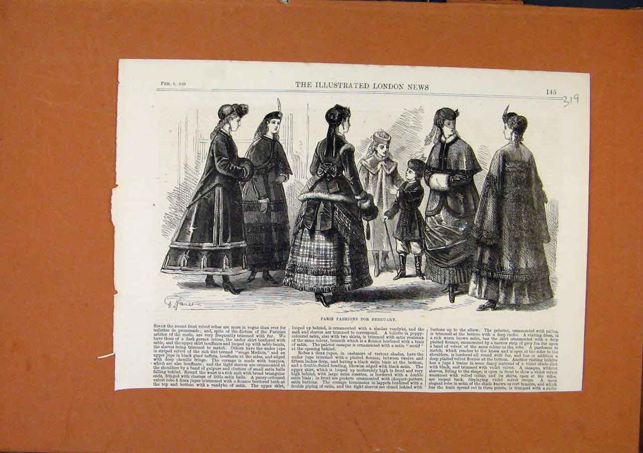 Print Paris Fashions February C1869 Illustrated London News 198270 Old Original