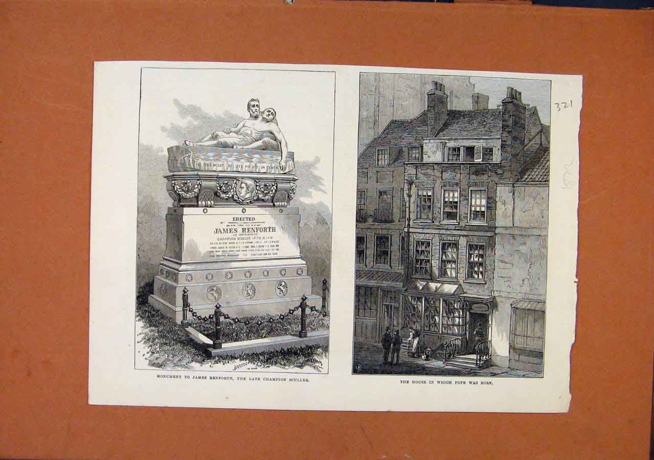 Print C1872 Monument James Benforth Popes Birth Place C1872 218270 Old Original