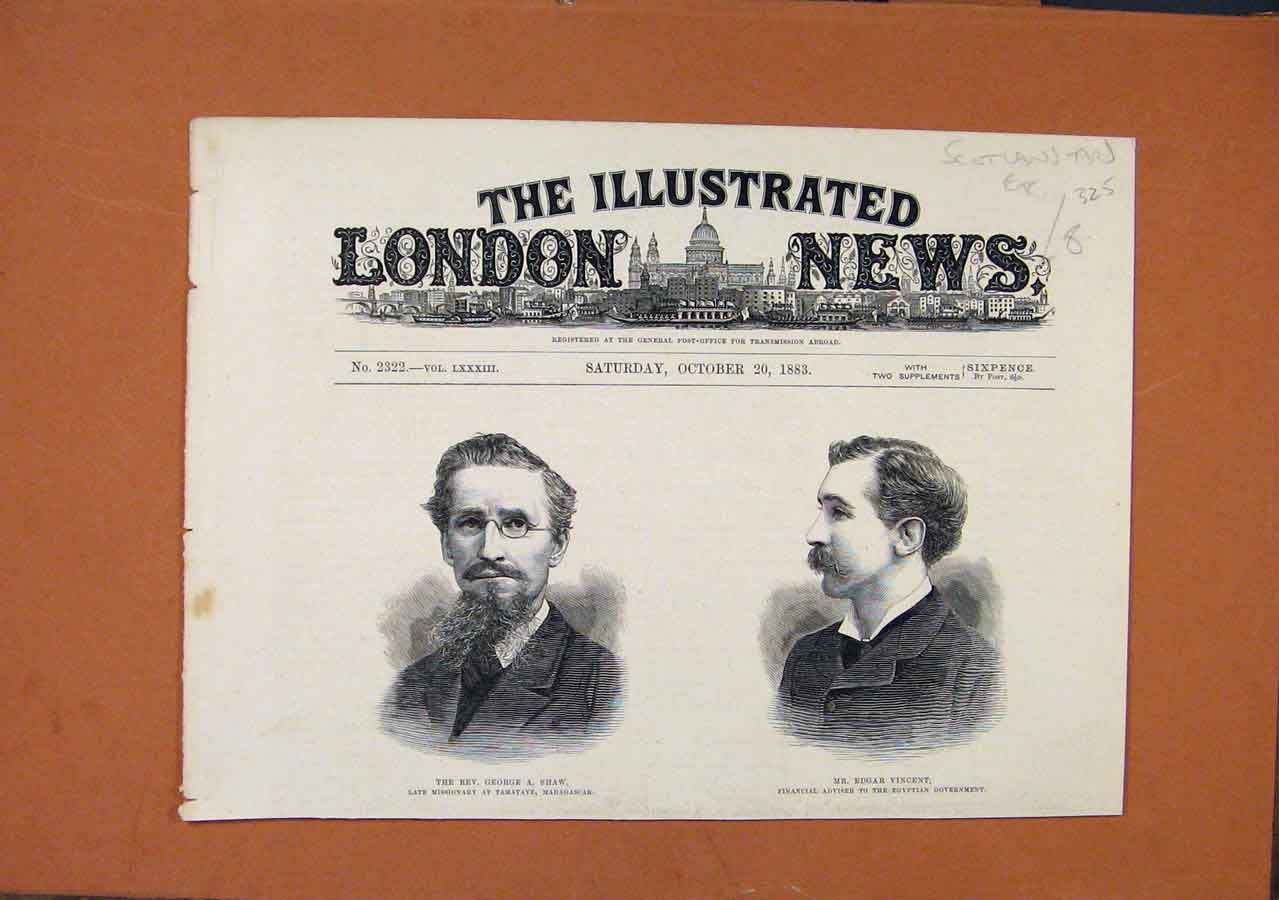 Print George Shaw Edgar Vincent Portraits C1883 London News 258270 Old Original