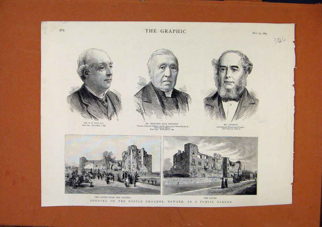 Print The Graphic C1889 Opening Castle Grounds Newark Gardens 268270 Old Original