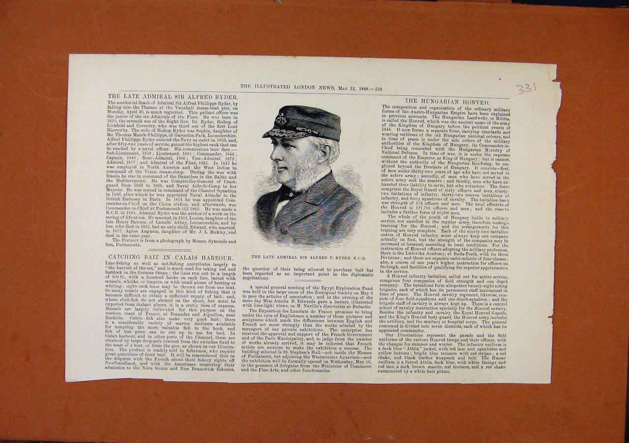 Print Late Admiral Sir Alfred Ryder C1888 London News 318270 Old Original