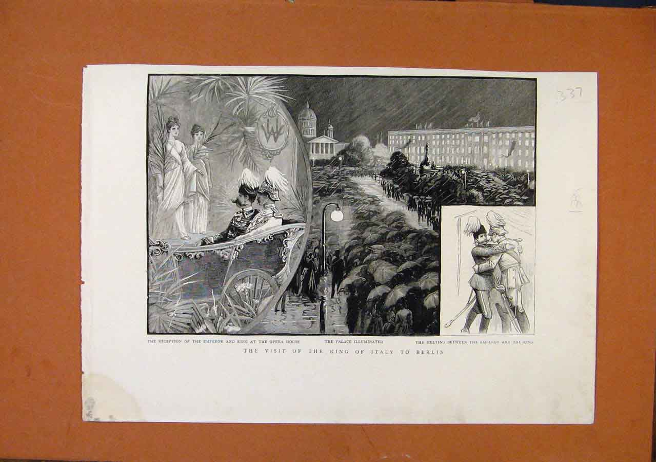 Print Visit King Italy To Berlin C1889 Graph 378270 Old Original