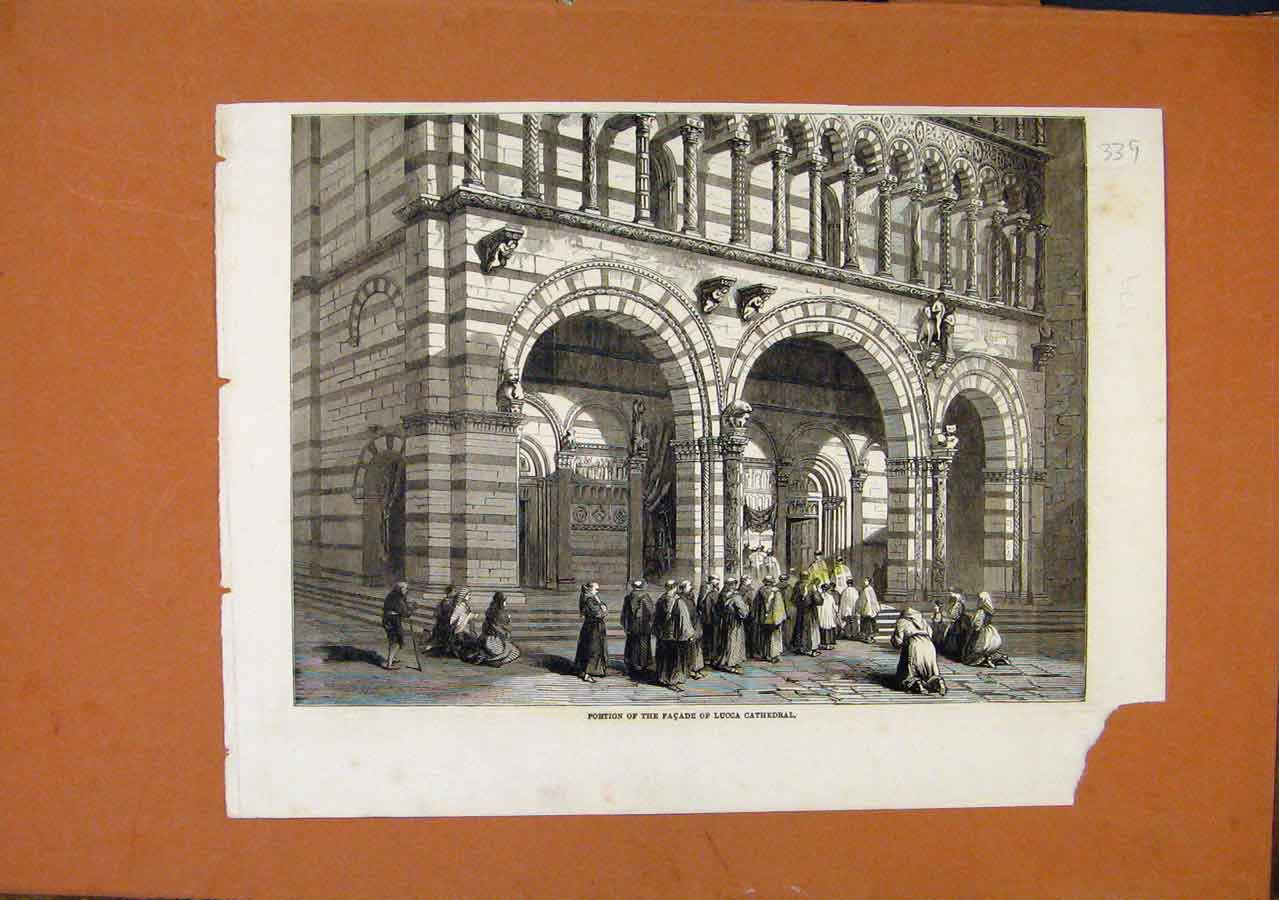 Print Portion Facade Lucca Cathedral C1879 398270 Old Original