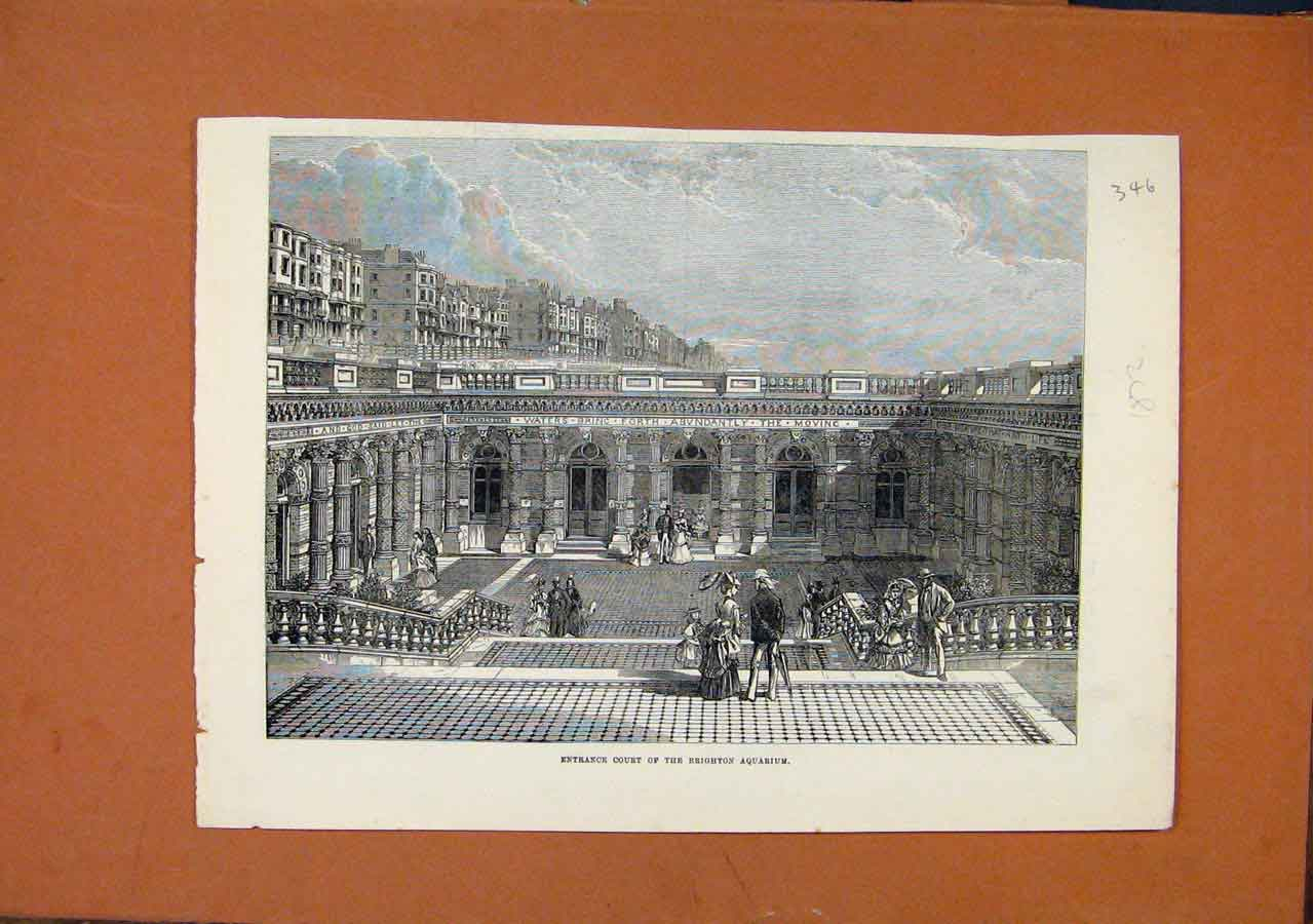 Print Entrance Court Brighton Aquarium C1872 468270 Old Original