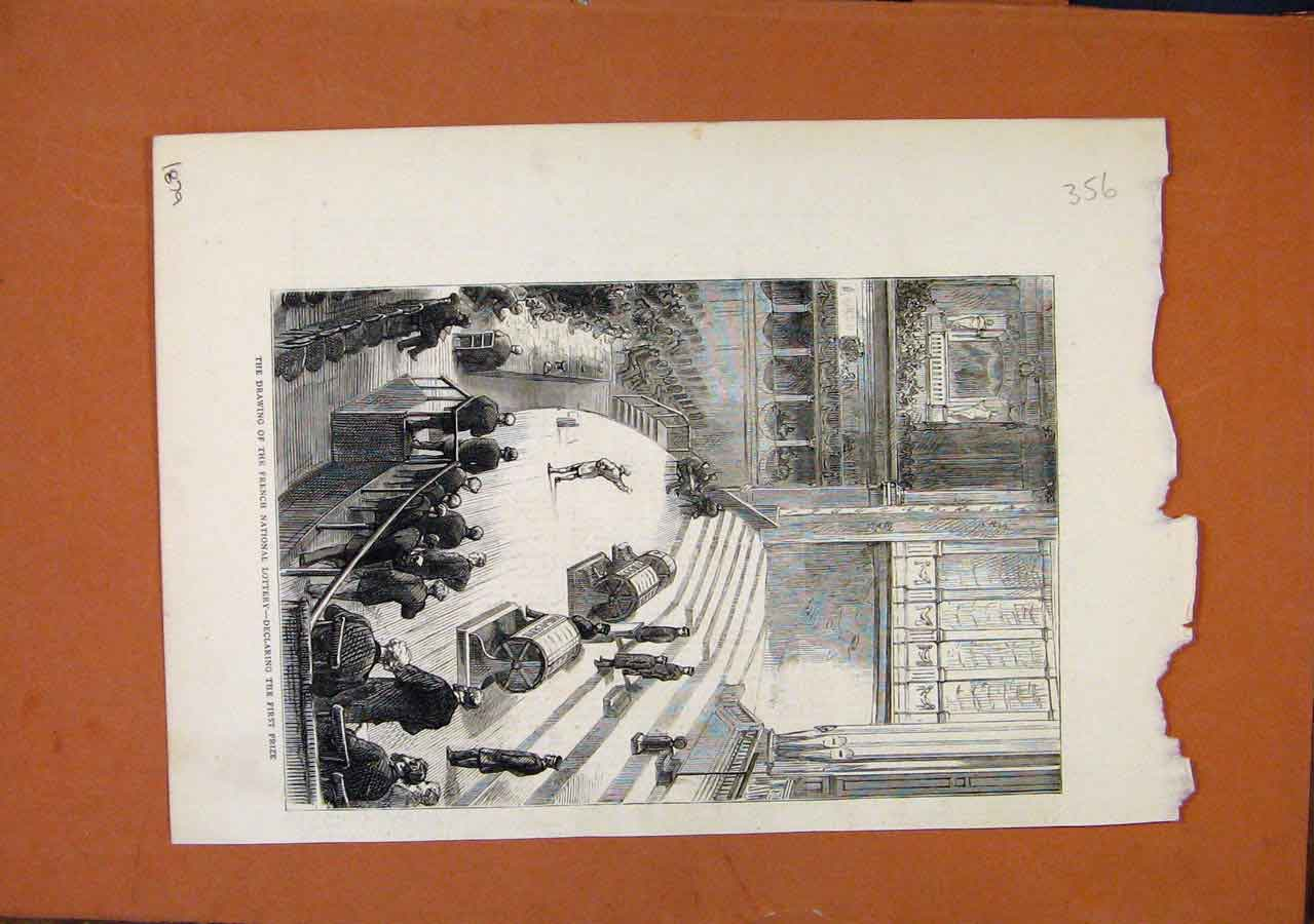Print Drawing French National Lottery C1879 568270 Old Original
