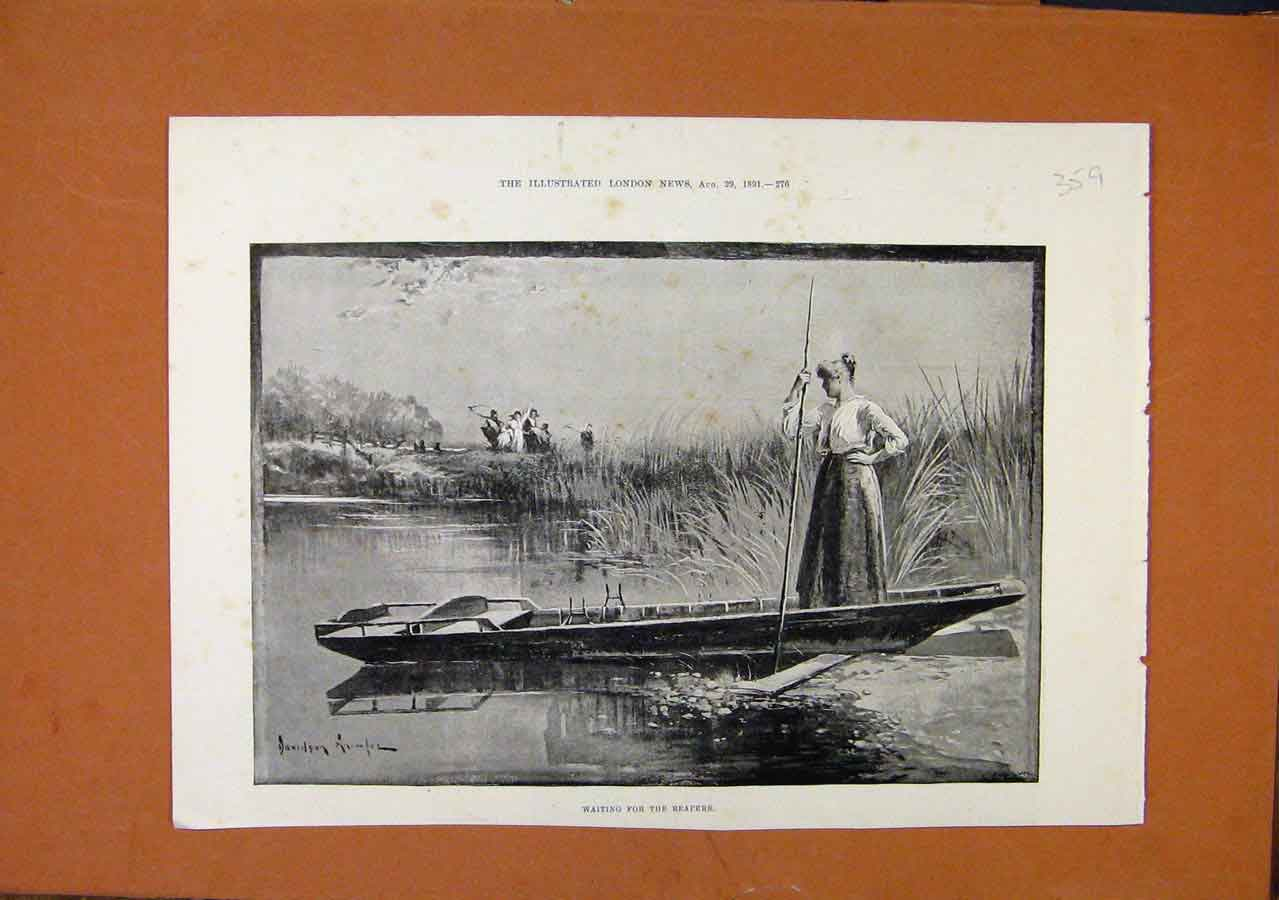 Print Waiting For Reapers Thames River C1891 598270 Old Original