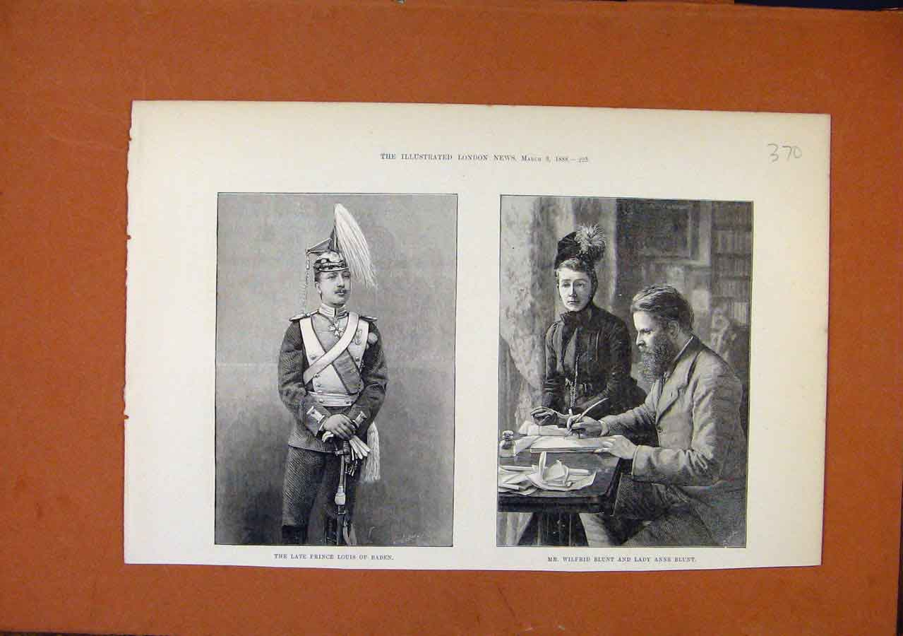 Print Late Prince Louis Baden Wilfred Blunt Lady Anne C1888 708270 Old Original