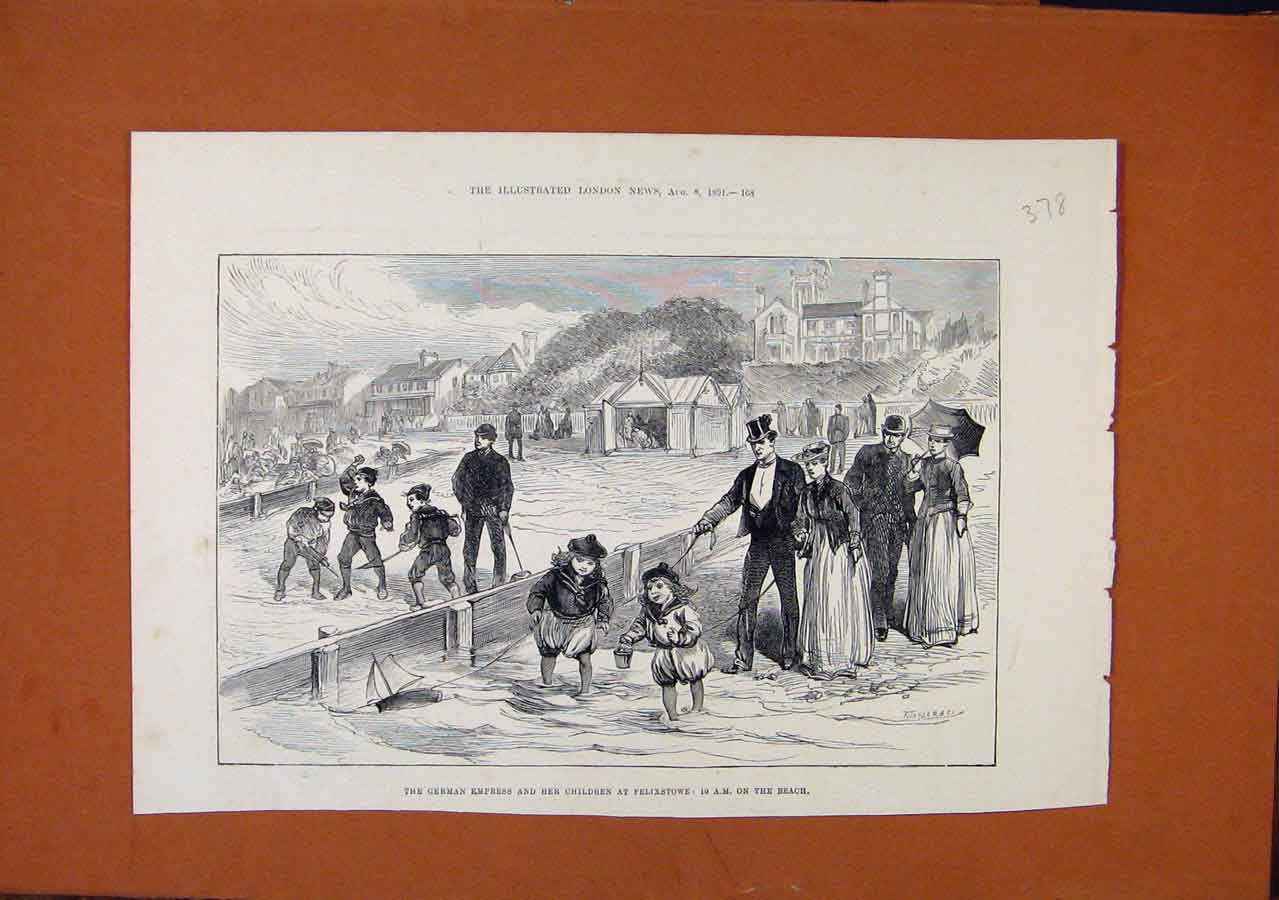 Print German Empress Children Fleixstowe Beach C1891 788270 Old Original