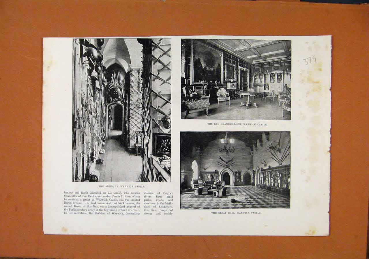 Print Armoury Warwick Castle Illustrated London News 798270 Old Original