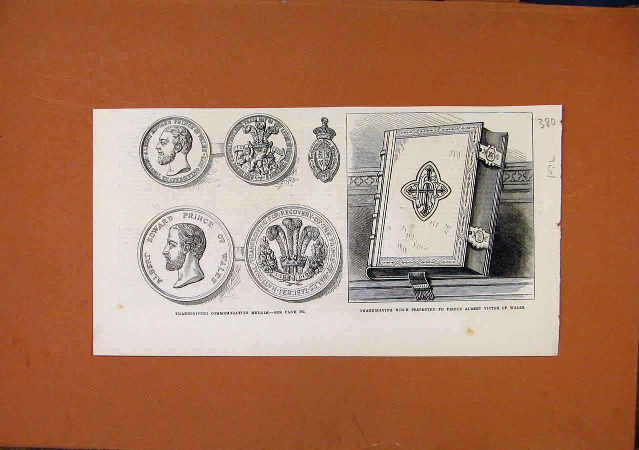 Print C1872 Thanksgiving Commemoration Medals Bible 808270 Old Original