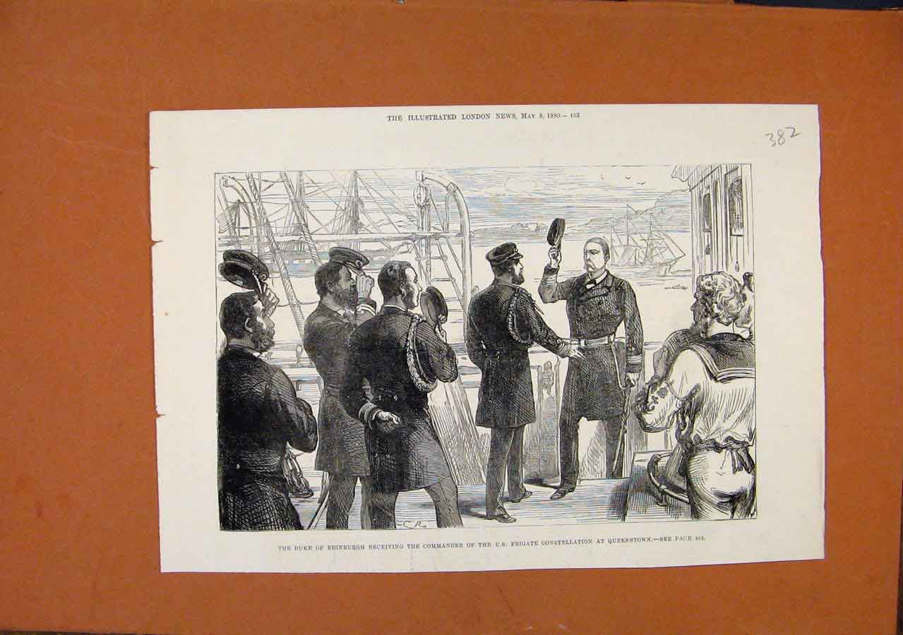 Print Duke Edinburgh Commander Frigate Queenstown C1880 828270 Old Original