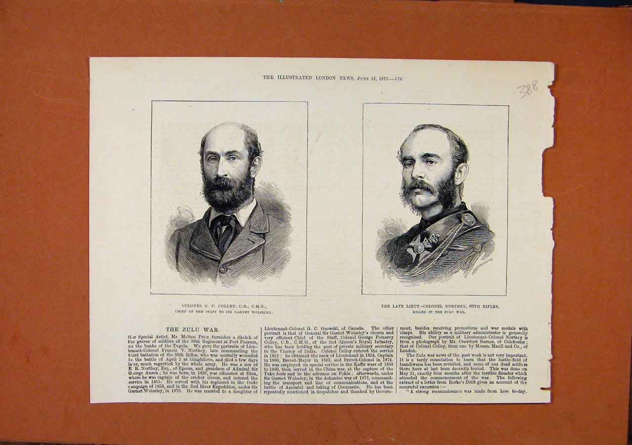 Print C1879 Zulu War Colley Late Northey London News 888270 Old Original