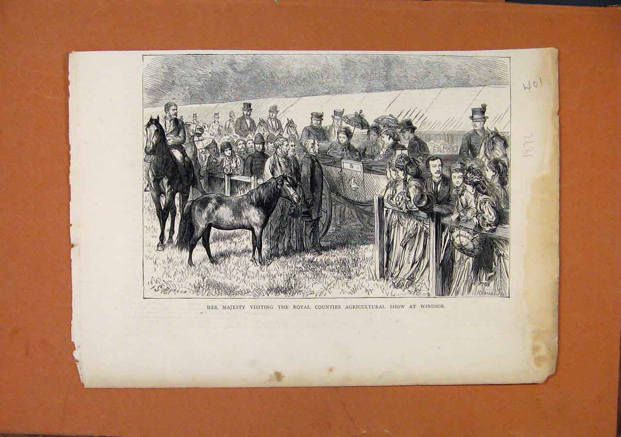 Print C1872 Her Majesty Visting Roayl Counties Agricultural 018270 Old Original