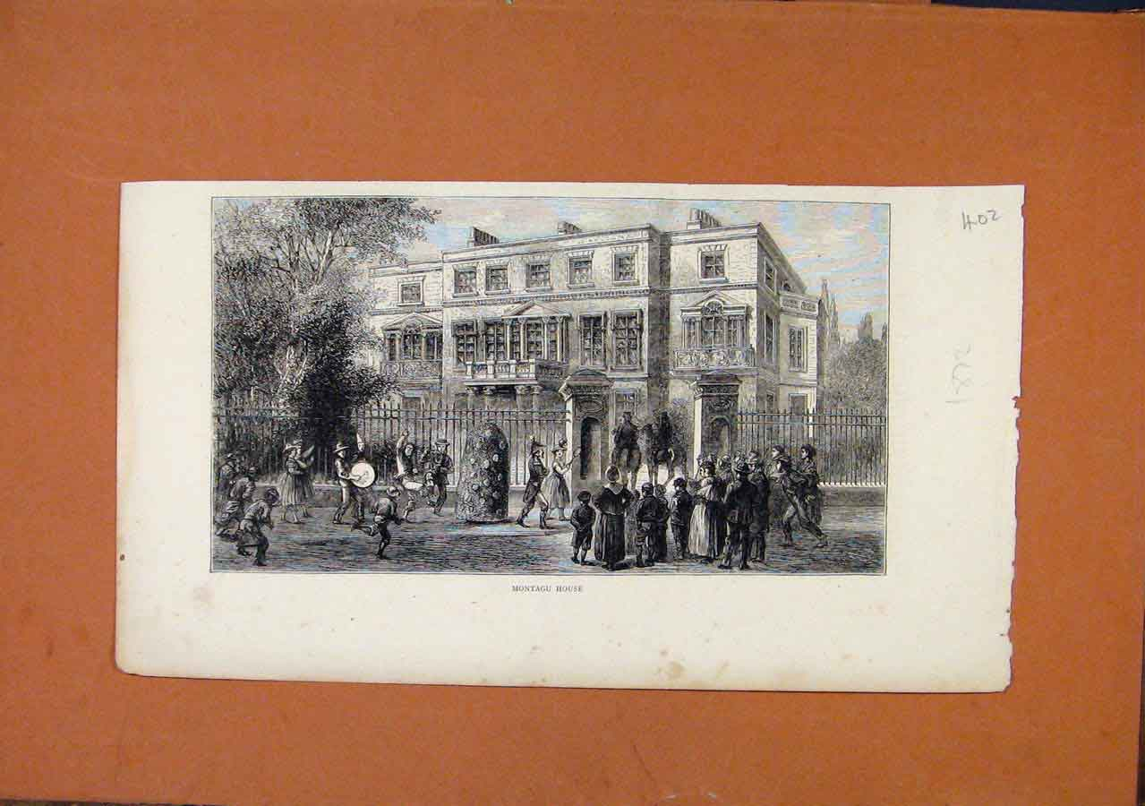 Print C1872 Montagu House Fine Art 028270 Old Original