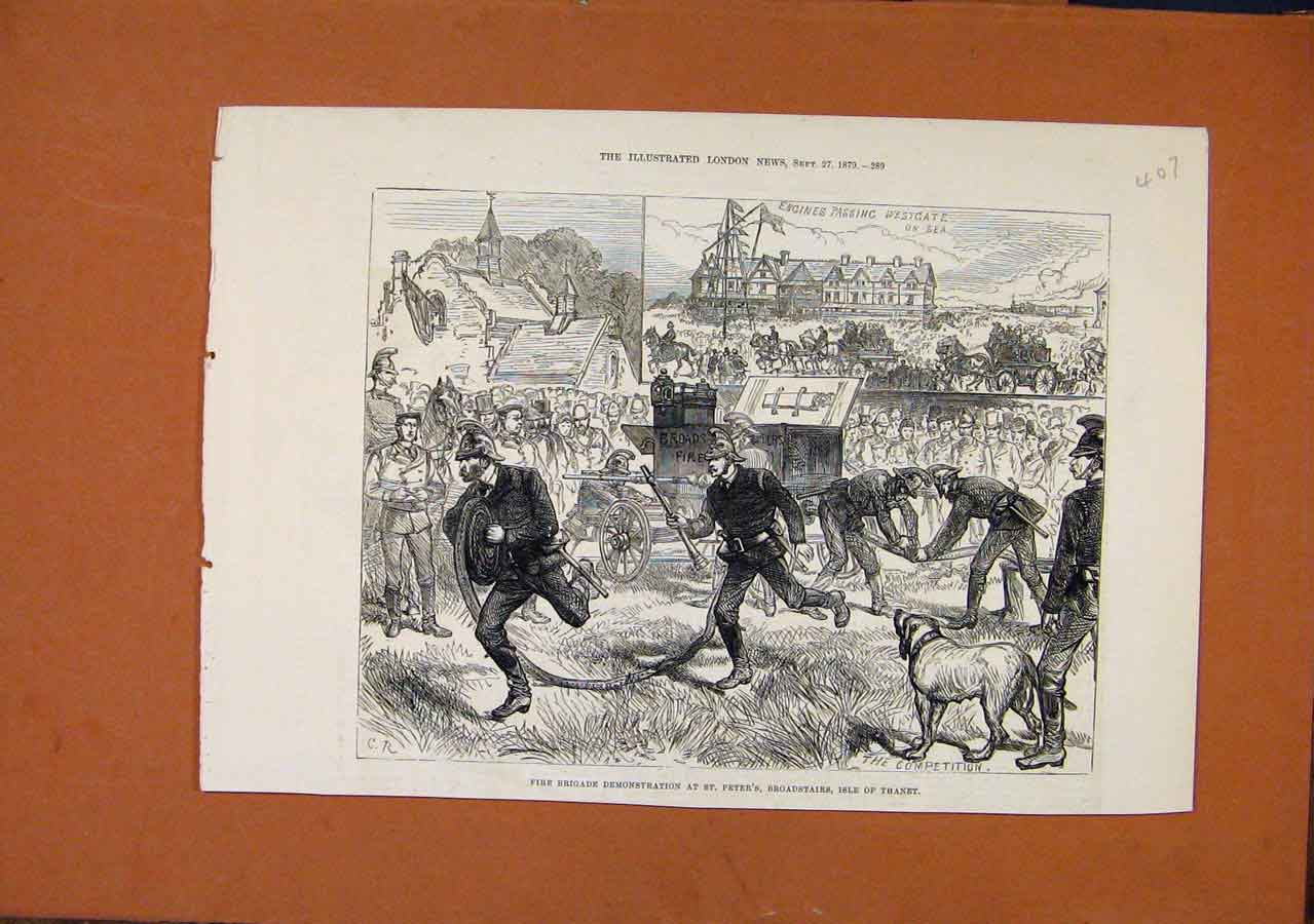 Print Fire Brigade Demonstration St Peters C1879 London News 078270 Old Original