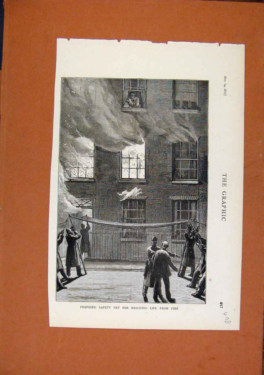 Print Propsed Safety Net For Rescuing Life From Fire C1877 088270 Old Original