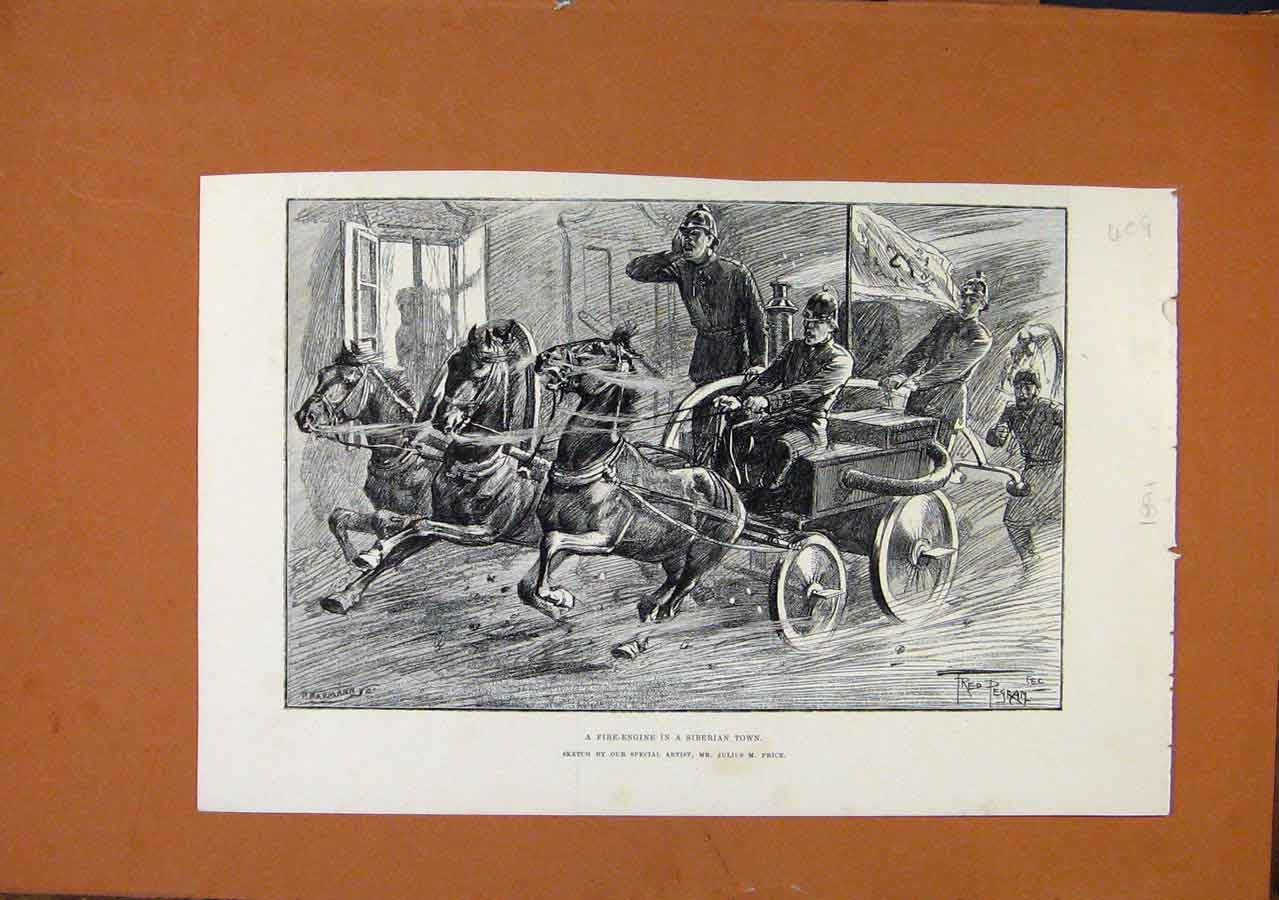 Print Fire Engine Siberian Town C1891 Illustrated London News 098270 Old Original