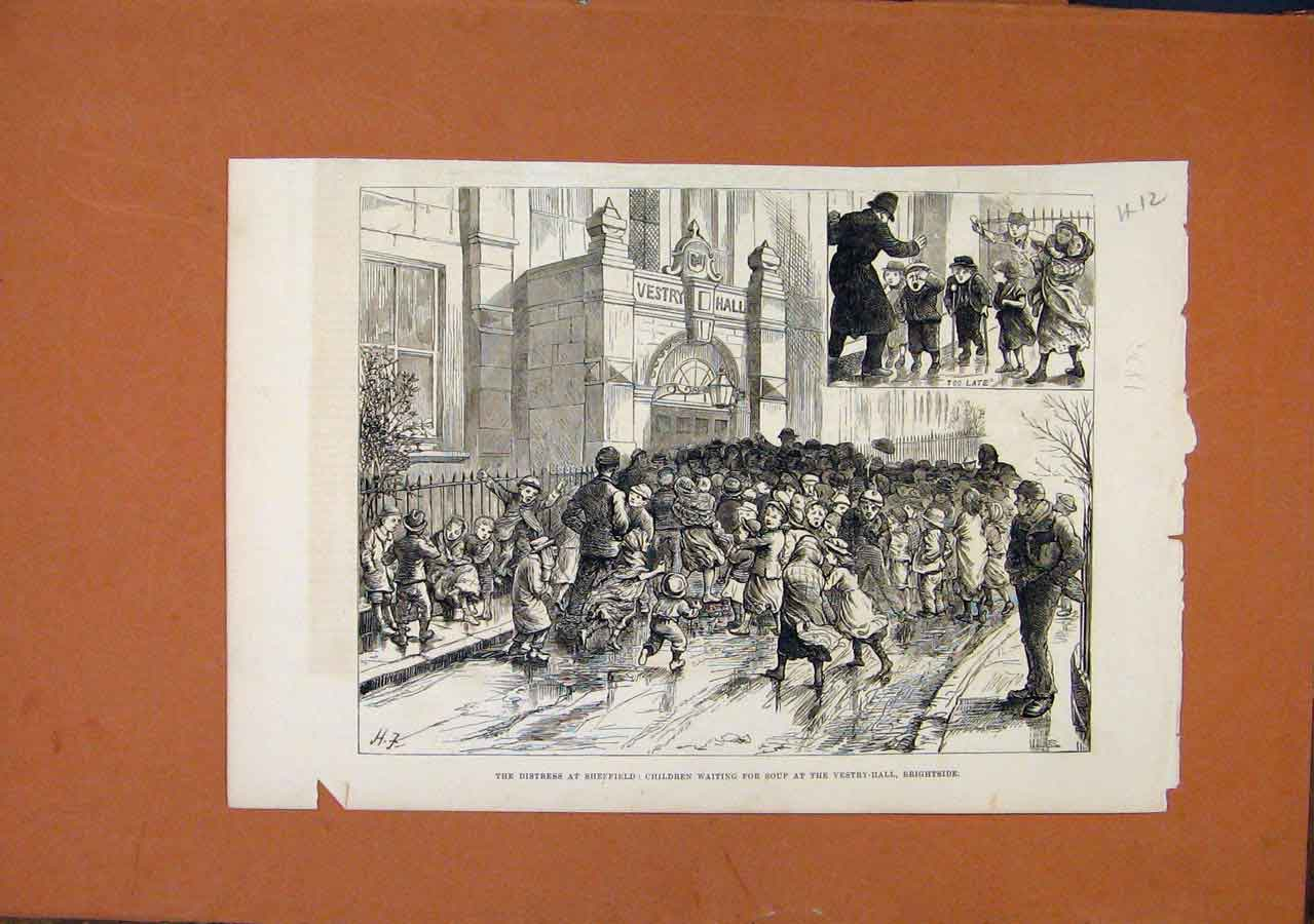 Print Distress Sheffield C1879 Illustrated London News 128270 Old Original