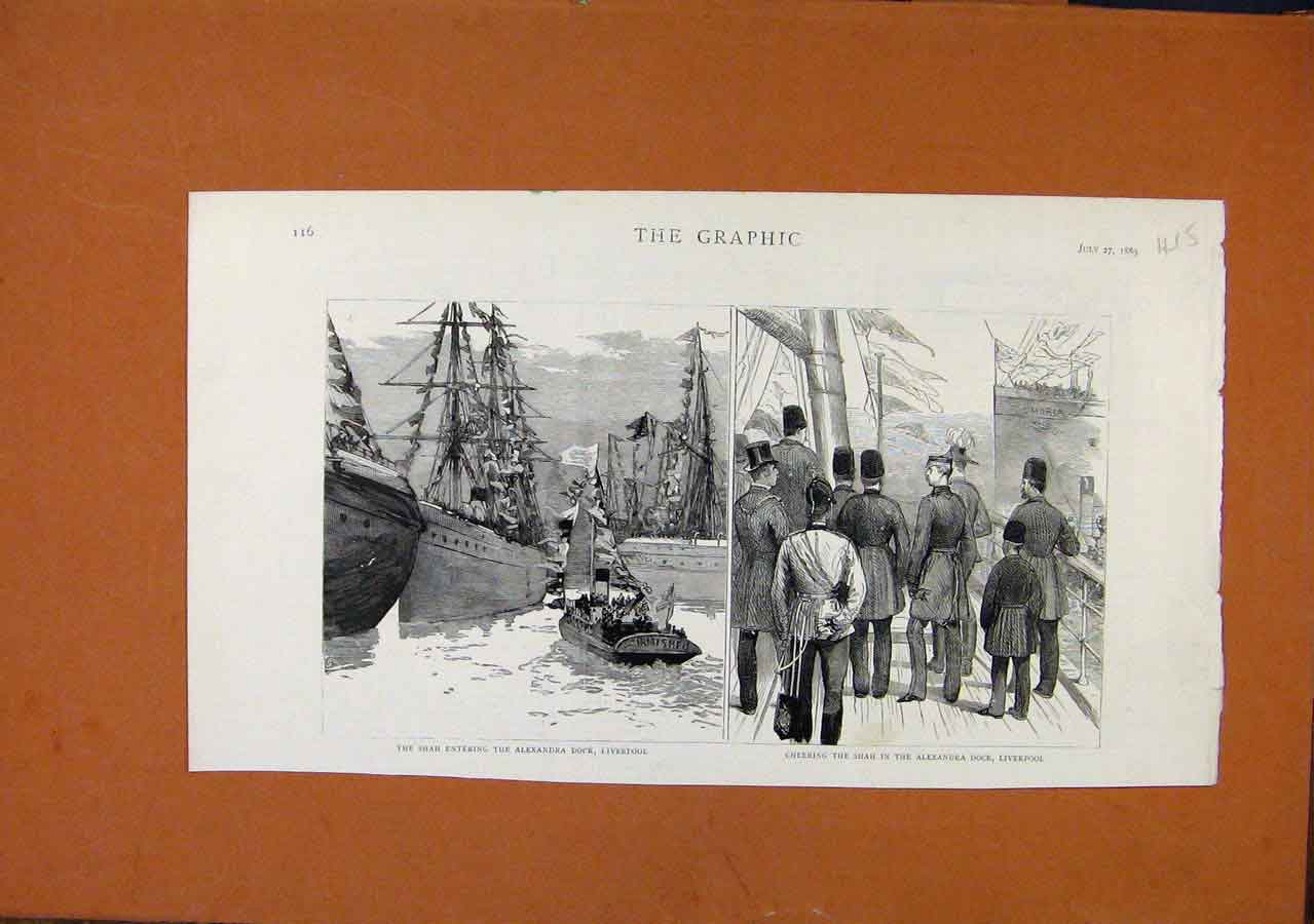 Print The Graphic1889 Shah Entering Alexander Dock Liverpool 158270 Old Original