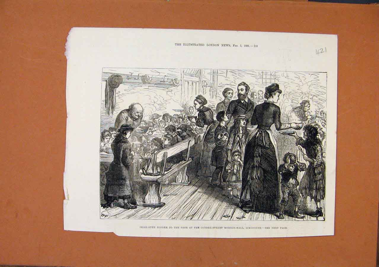 Print Irish Stew For Poor Coner Street Mission Limehouse 1881 218270 Old Original