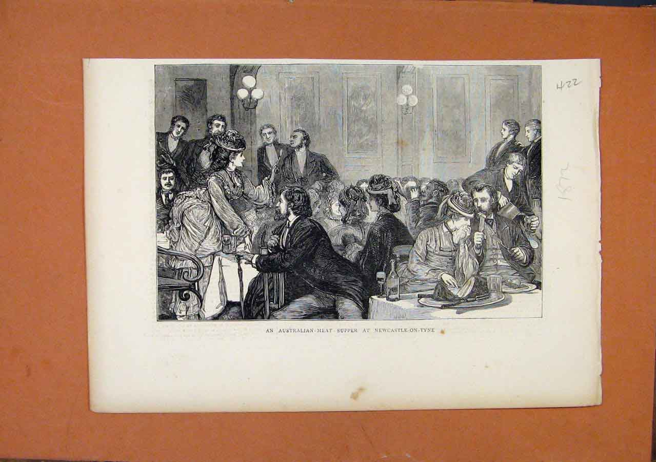 Print Australian Meat Supper Newcastle C1872 228270 Old Original