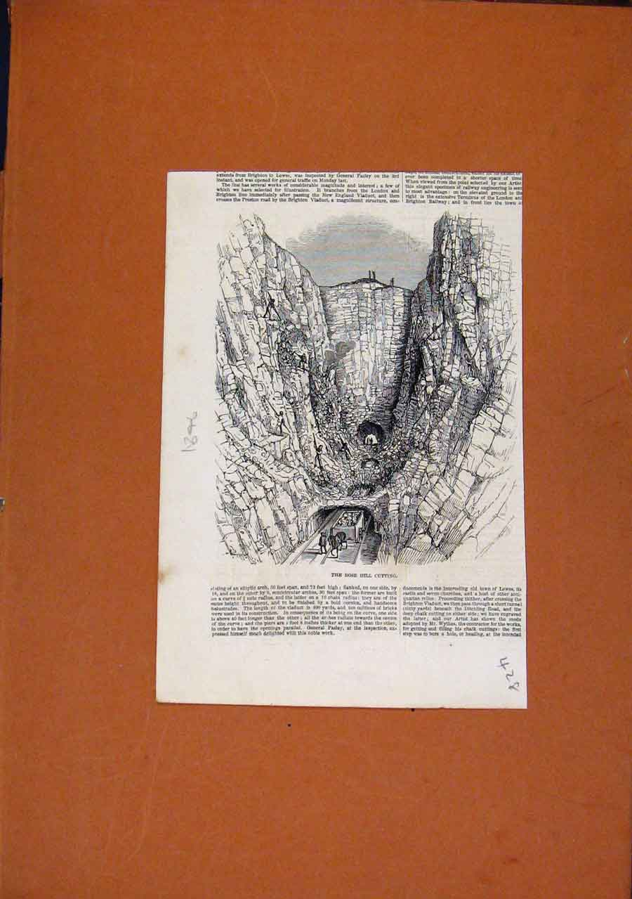 Print Rose Hill Cutting C1846 Illustrated London News 288270 Old Original
