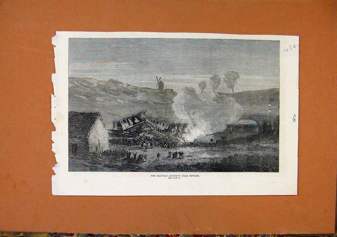 Print Railway Accident Near Newark C1870 348270 Old Original