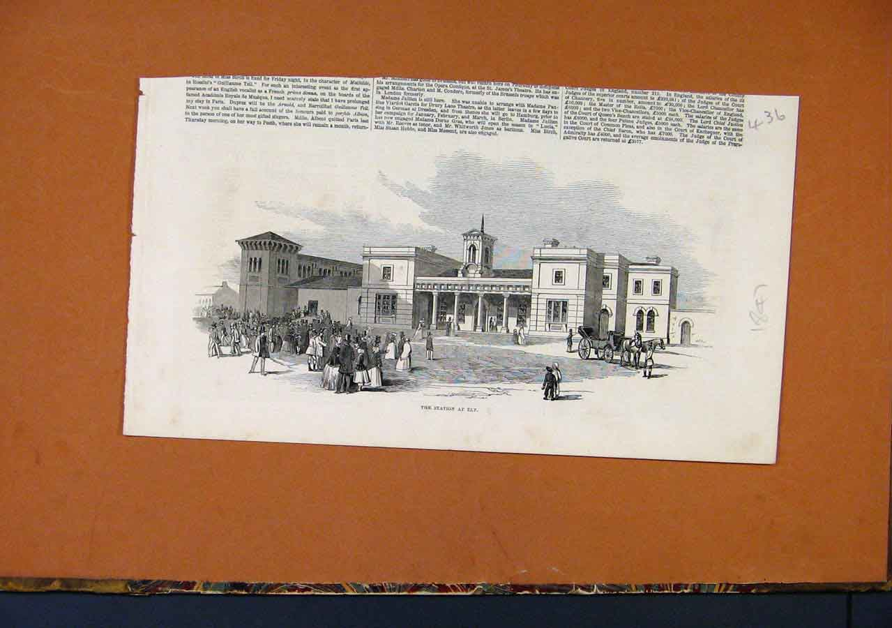 Print Station Ely C1847 Illustrated London News 368270 Old Original