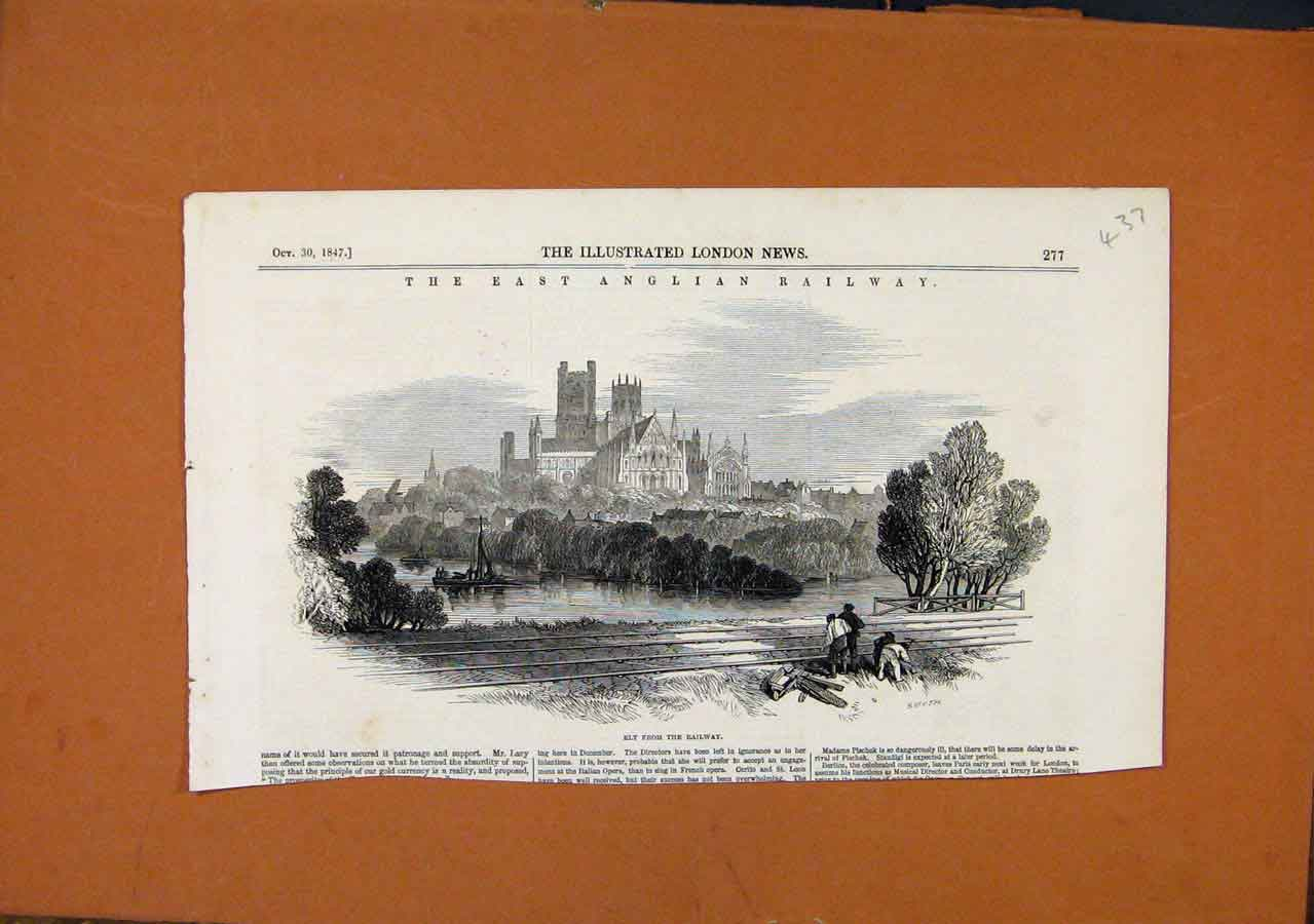 Print East Anglian Railway Ely C1847 Illustrated London News 378270 Old Original