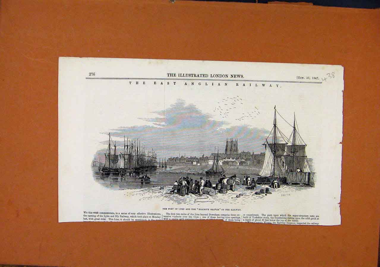 Print Port Lynn East Anglian Railway C1847 388270 Old Original