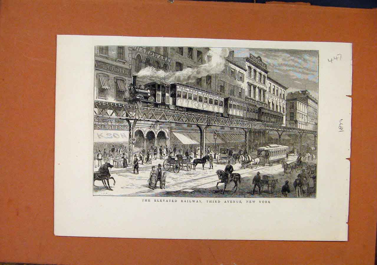 Print Elevated Railway New York C1879 Illustrated London News 478270 Old Original