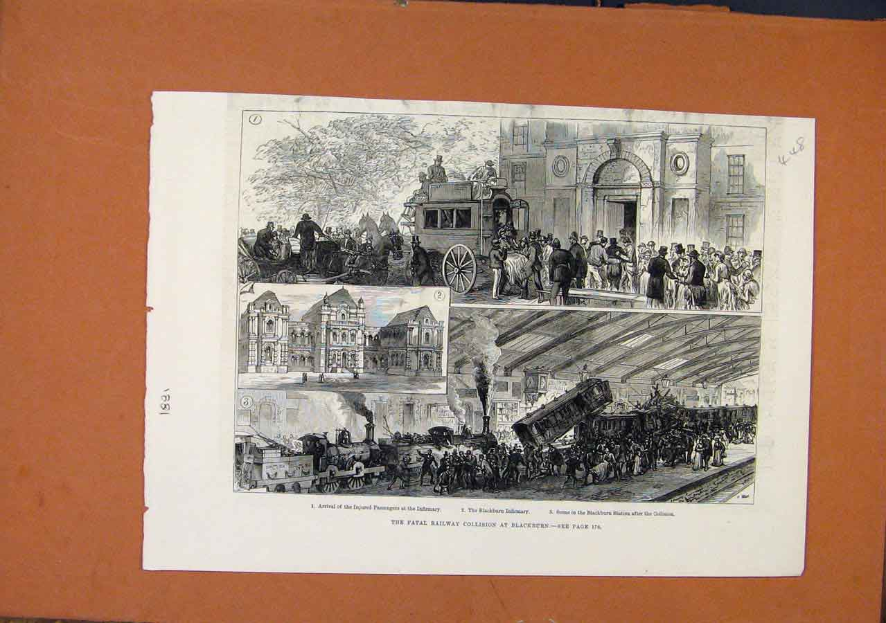 Print Fatal Railway Collision Blackburn C1881 488270 Old Original