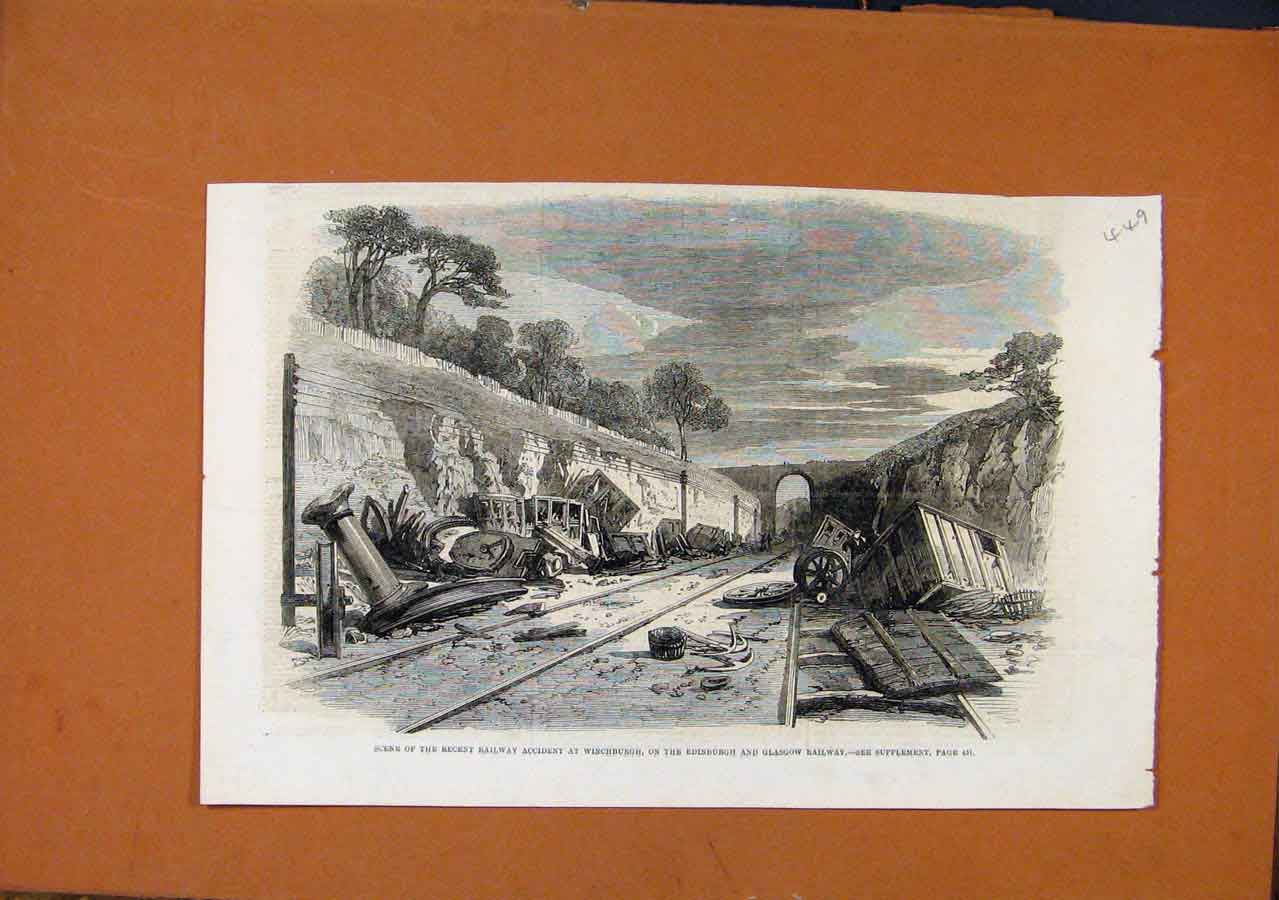 Print Railway Accident Winchburgh Edinburgh Glasgow 498270 Old Original