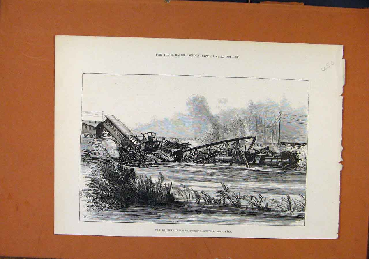 Print C1891 Railway Disaster Monchenstein Bale 508270 Old Original