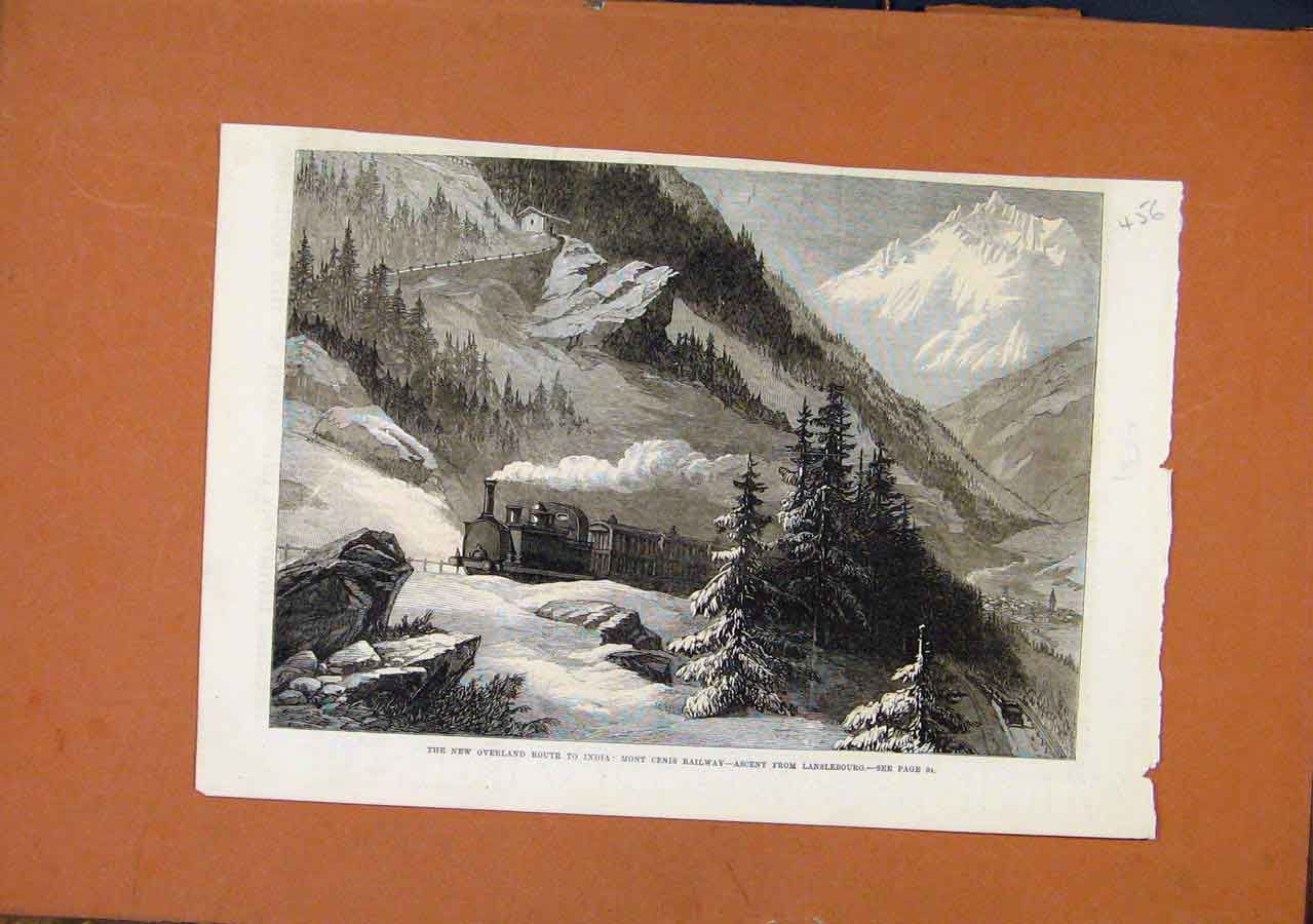 Print New Overland Route India Mont Cenis Railway C1869 568270 Old Original